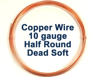 10ga Half Round Copper Wire - Choose Your Length