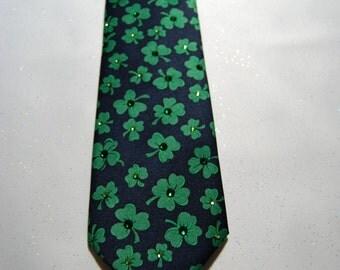 Green clover rhinestone necktie
