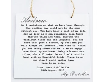 Best Man Poem Plaque. Wedding Thank You Gift. Personalised