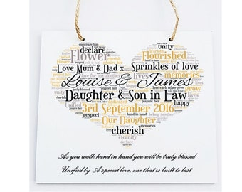 Personalised Square Wooden Plaque. Wedding Poem Gift.  Daughter & Son in Law.