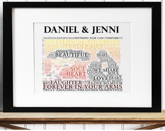 Personalised Love Framed Word Art - Forever in Your Arms