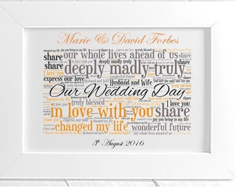 Personalised Our Wedding Day Framed Love Word Art