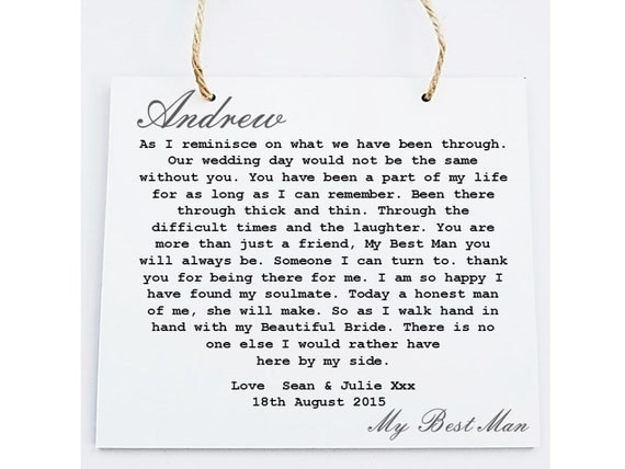 Wedding Gift Thank You Poem : Best Man Poem Plaque. Wedding Thank You Gift. Personalised