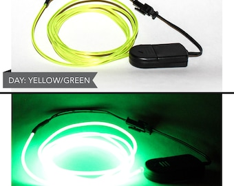 4 Foot LED El Wire Kit with 2032 Lithium Battery Pack - Neon Yellow Green (Batteries Not Included) - EDM, EDC, Burning Man