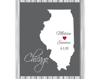 Personalized Illinois state map