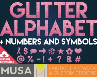 INSTANT DOWNLOAD / Pink Glitter Block Letter Alphabet, Numbers and Symbols clipart
