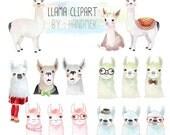 Llama Clipart,Cute  Llama Clip Art Instant Download PNG file - 300 dpi