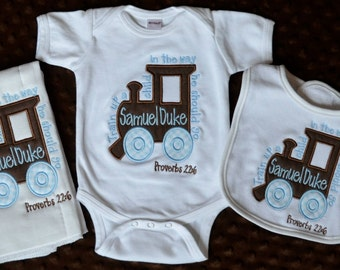 Personalized Train Up A Child Monogram Initial Applique Gown Burp Cloth Bib Onesie for Baby Boy or Girl