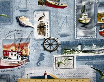 Sea Bound Scenic Fabric From MDG By the Yard