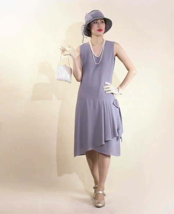 Art deco-inspired flapper dress in grey with drape and bow 1920s flapper dress Great Gatsby dress Downton Abbey dress high tea dress $130.00 AT vintagedancer.com