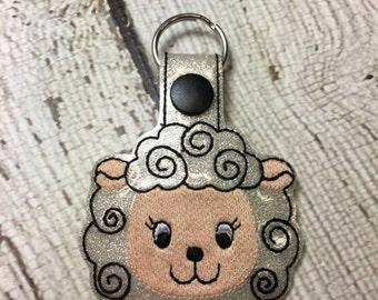 Lamb - Snap/Rivet Key Fob - DIGITAL Embroidery Design