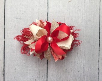 Red, Ivory and Gold bow
