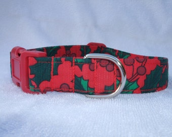Red Christmas Holly and Ivy  Dog Collar