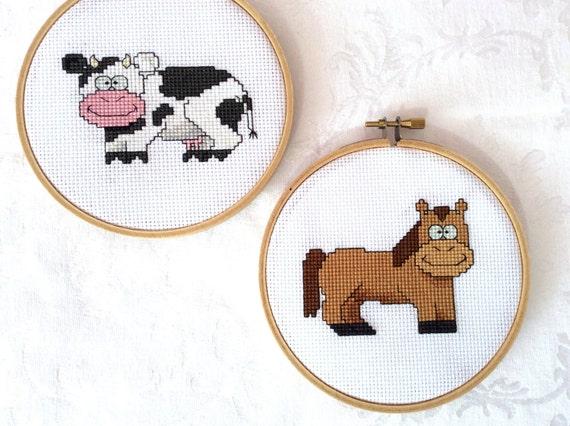 Knitting Room Fond Du Lac : Farm animal cross stitch bundle pdf pattern embroidery