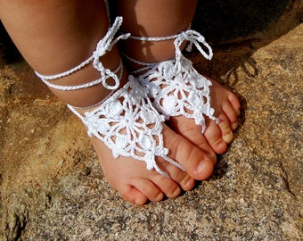 Baby Barefoot Sandals, Crochet Anklet, Crochet Foot Jewelry,  Childrens Foot Accessories, Beach Shoes