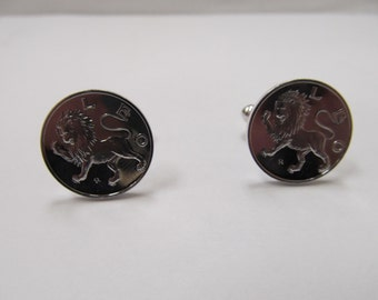 Vintage Sterling Silver Leo the Lion Zodiac Cuff Links Item W # 204