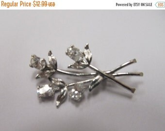 On Sale Sterling Silver Prong Set Rhinestone Floral Pin Item W-#499