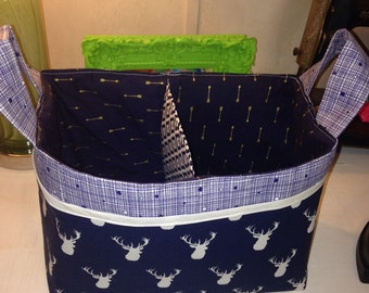 Lg. Divided Basket Diaper Caddy Fabric Organizer Storage Bin Basket Gift Basket w/ Front Pocket