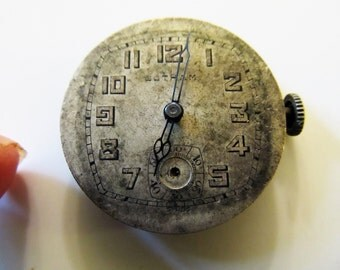 Steampunk Watch Parts, Vintage Swiss Gotham Watch Dial Head, Blue Filigree Swiss Hands & Mechanical Movement, For Steam punk Jewelry #D228