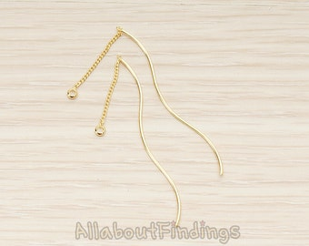 BSC269-G // Glossy Gold Plated Chain Linked Thin Curvy Tube Bar Pendant Ear Findings, 2Pc