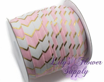 Fold Over Elastic, FOE, Foldover Elastic, Elastic By The Yard, FOE Elastic, 5/8 Elastic, Wholesale Elastic, Pink Gold Foil Chevron TRE6793