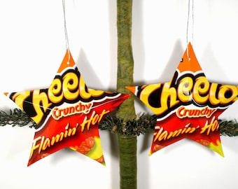Crunchy Flamin' Hot Cheetos Recycled Aluminum Stars - Handmade Christmas Ornaments or Gift Toppers - Pop Culture Junk Food Decor