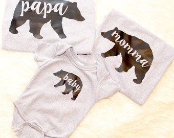 Family of Three Bear Shirts, Papa Bear, Momma Bear, Baby Bear, Baby Announcement