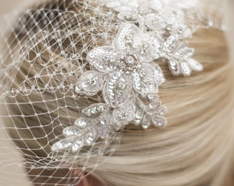 Veil with French Net Birdcage Blusher & Scattered Crystal Edge