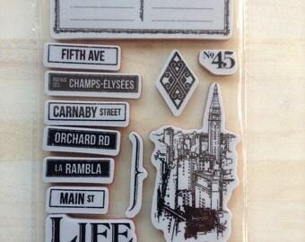 City Scapes Cling Stamp Set 3 Graphic 45 - Adventure - London - Paris - New York - 13 Pieces