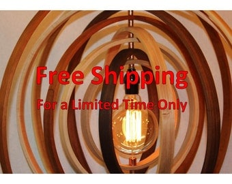 "Wood Orb Chandelier Sphere Light 24"" with Single Socket 