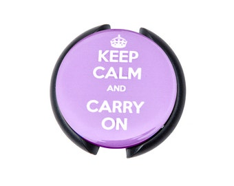 Keep Calm and Carry On Stethoscope ID tag, Name Tag, ID Tag-Purple