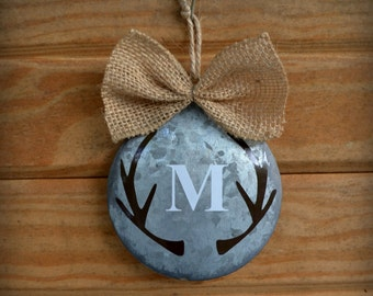 Monogram Antler Ornament- Personalized Metal Ornament