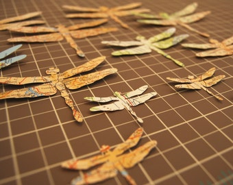 Dragonflies Die Cut From Vintage Atlas Pages - Twelve Two Sided Dragonflies in Three Sizes