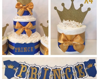 Prince Baby Shower Party Package In Royal Blue And Gold, Prince Theme Baby  Shower Decorations