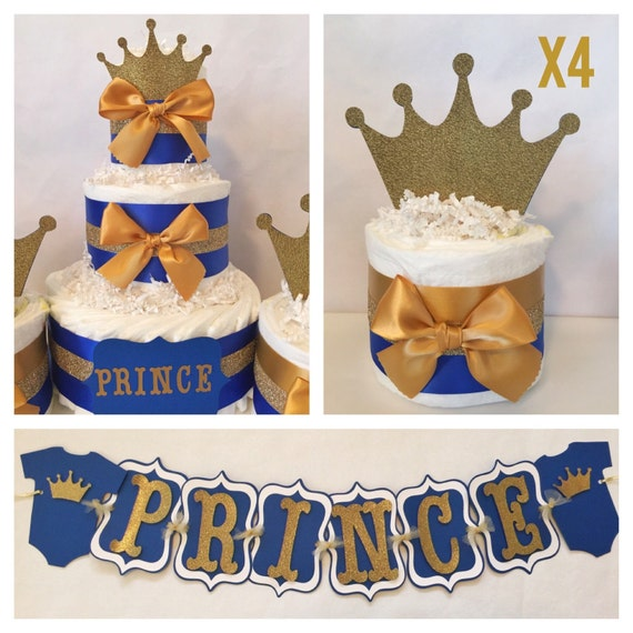 royal blue and gold prince theme baby shower decorations centerpiece