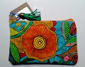 Clutch hand painted Clutch textil paintings cotton gifts for her