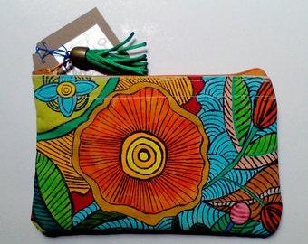 Clutch floral pintado a mano, pintura textil, lona,