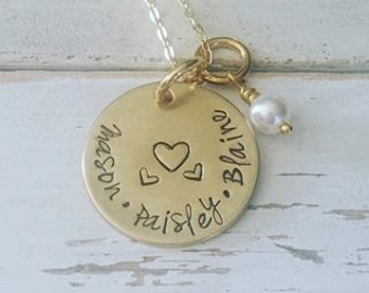 Personalized Hand Stamped Necklace-Gold Family Necklace-Mother-Grandmother-Kids-Children Names-Nugold Mother's Necklace-Birthday