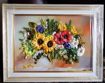 silkribbonembroidery picture bouquet of sunflowers