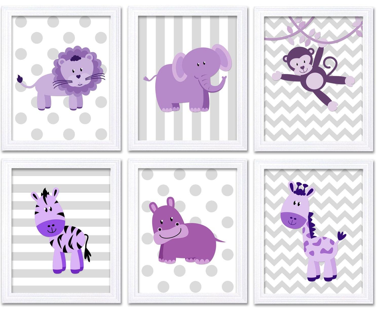 Purple Grey Africa Animals Jungle Nursery Art Set of 6 Prints Baby Wall Art Decor Kid Child Bedroom