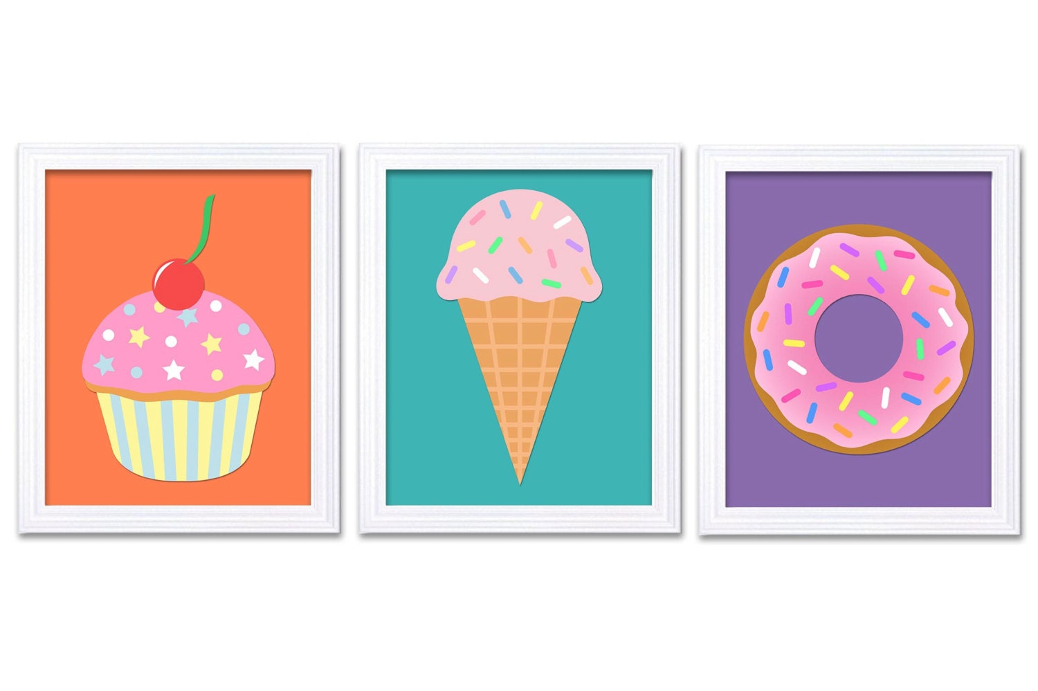 Pink Sweet Treats Print Set of 3 Donut Ice Cream Cupcake Nursery Art Peach Orange Teal Purple Child