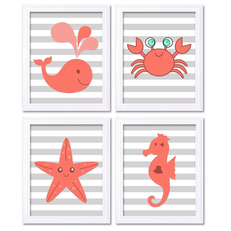 Pink Coral Sea Animals Nursery Decor Nursery Wall Art Print Baby Art Set of 4 Prints Whale Starfish