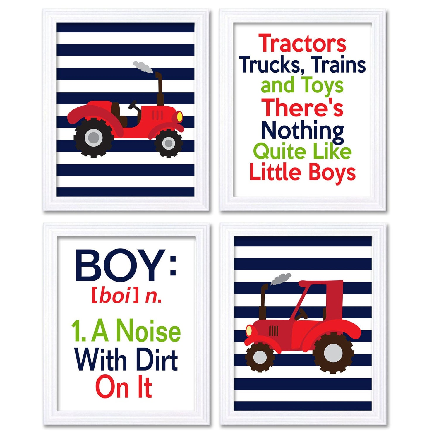 Nursery Art Tractors Trucks Toys Theres Nothing Quite Like Little Boys Prints Set of 4 Navy Blue Red