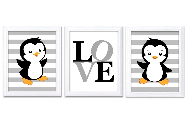 Penguin Nursery Art Set of 3 Prints LOVE Black Grey Gray Penguin Wall Decor Baby Boy Child Kid Room