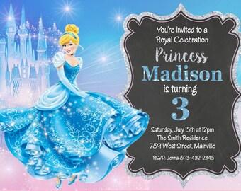 Cinderella Princess Birthday Party Invitation - Digital Printable File