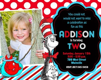Dr. Seuss Cat in the Hat Birthday Party Invitation - Digital File