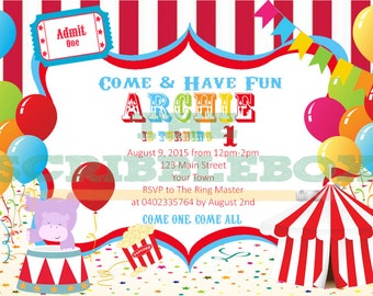 Let's go to the circus invitations