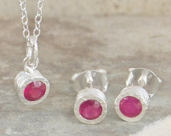 Ruby Necklace, Ruby Earrings, Ruby Jewellery, Silver Stud Earrings, Ruby Studs, Ruby Pendant, Jewellery Set, Gifts for Her, July Birthstone