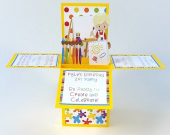 Art Party Birthday Invitation, Paint Party, Art Birthday, Art Party, Birthday Invitation, Boxcard, Pop up Card, Unique Invitation, 3D