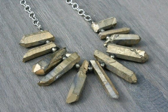 Dusty Gold Quartz, Pyrite and Silver Statement Necklace // Gifts for Her